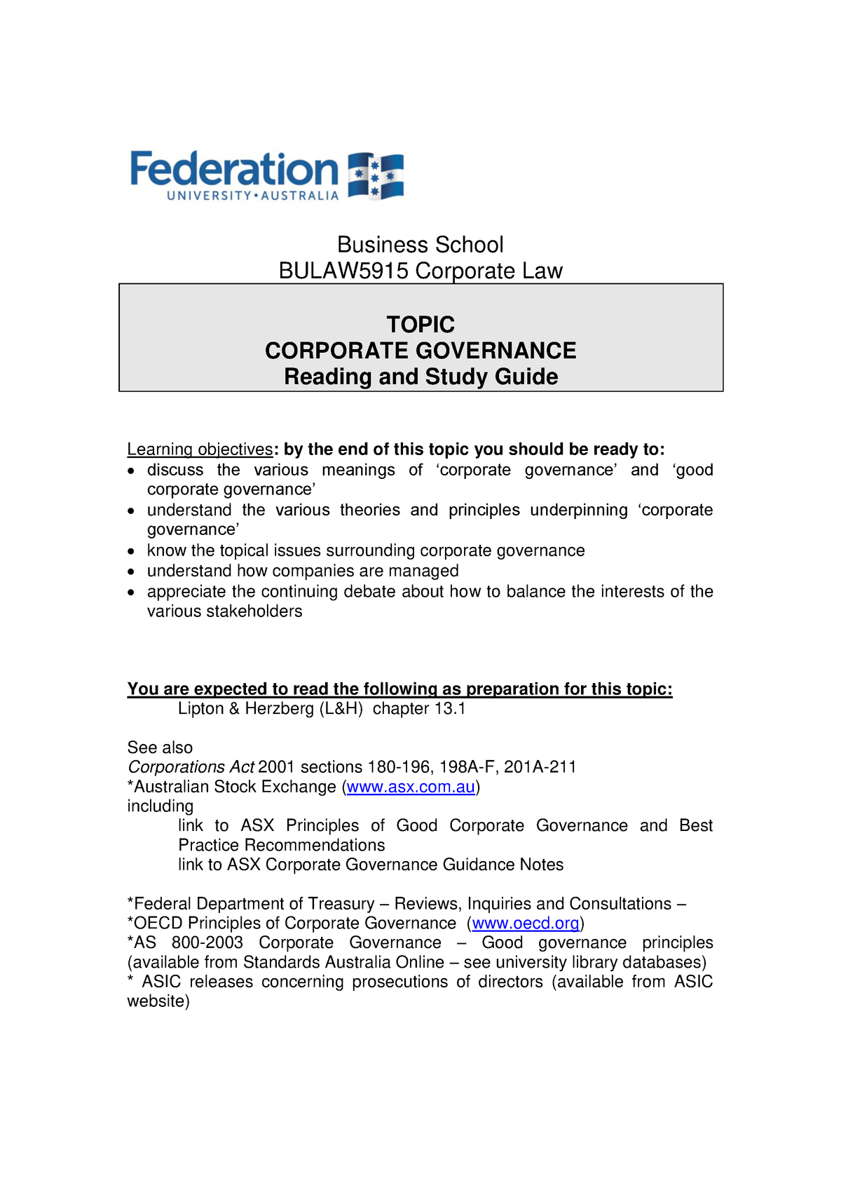 Topic 6 Corporate Governance BULAW 5915 Reading and Study Guide sem