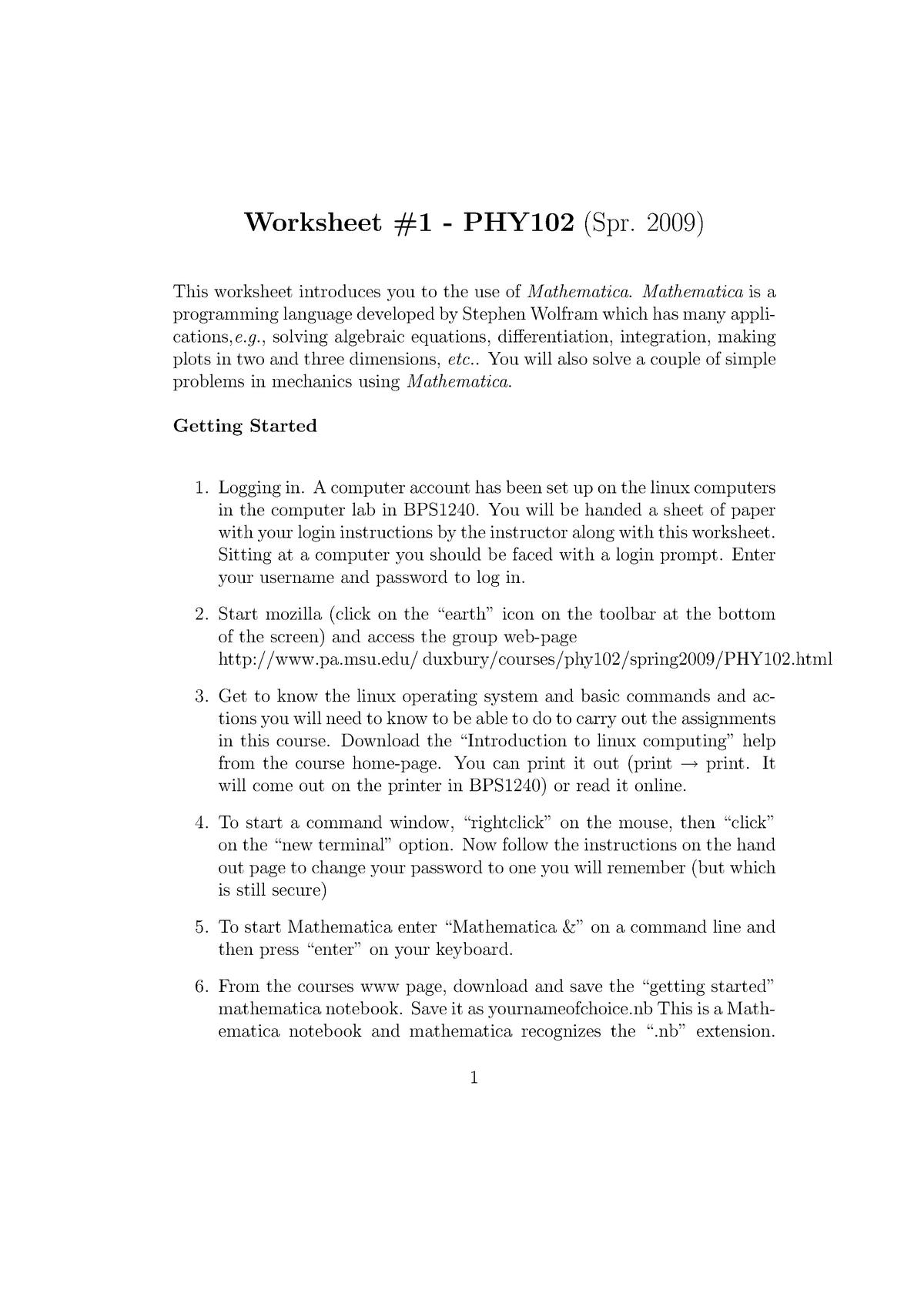 Practical - Worksheet 1-12 - PHY 102 Physics Computations I