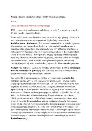Najazd Tatarski Filologia Rosyjska Ug Studocu