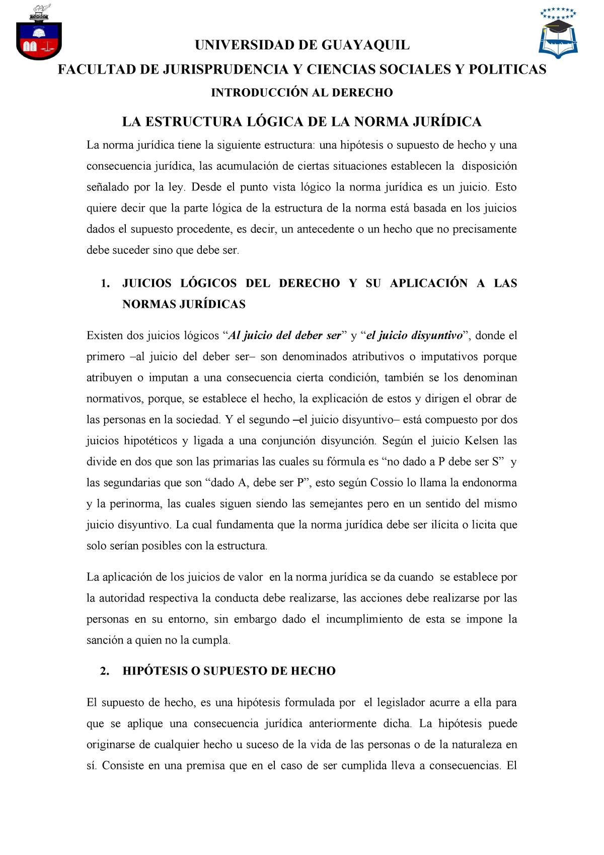 La Estructura Lógica De La Norma Jurídica Derecho 1232