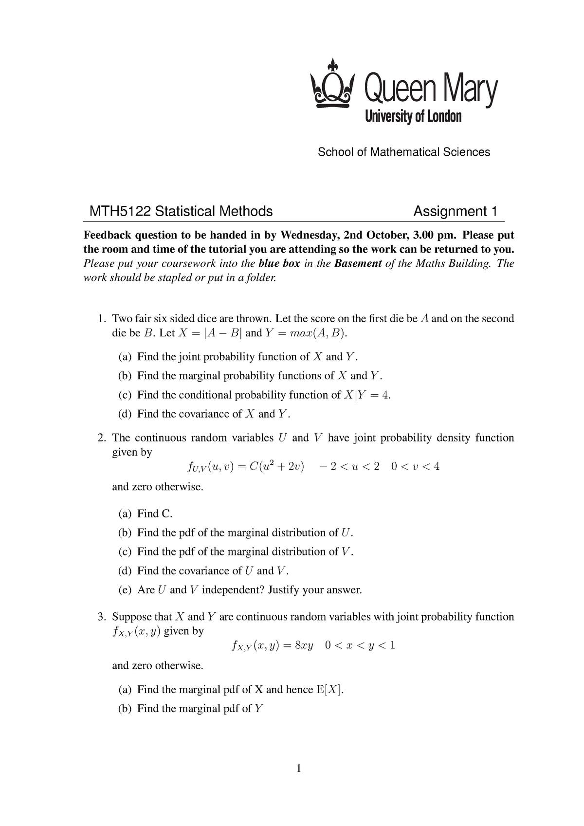 Assignment 1 2013 - MTH5122: Statistical Methods - StuDocu