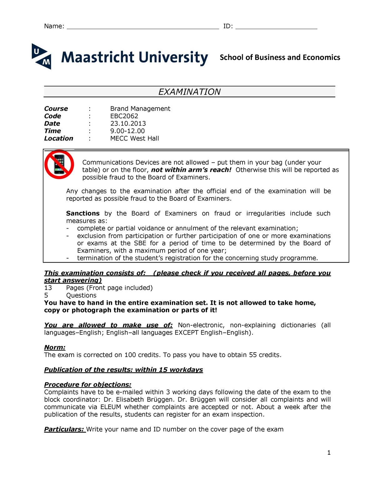 ca852fad97 Exam 2013 - EBC2062: Brand Management - StuDocu