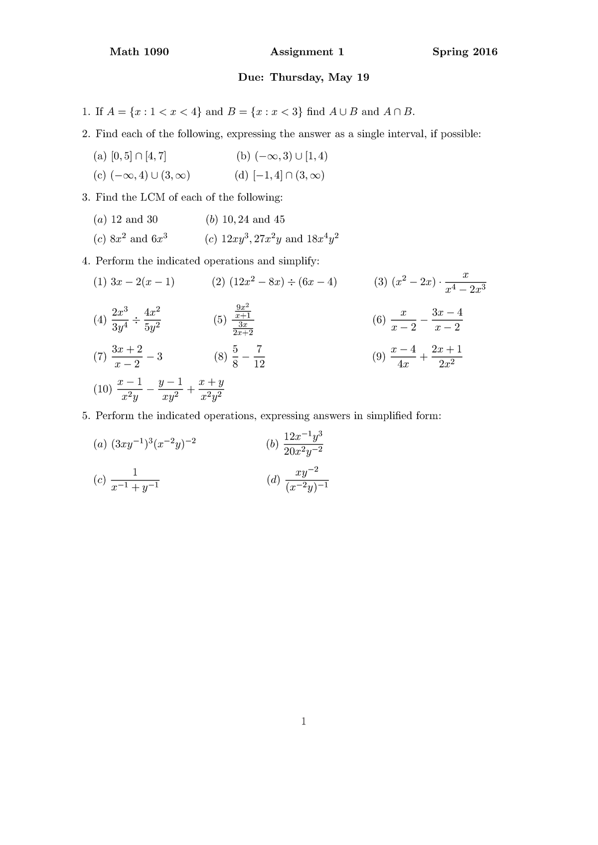 Seminar Assignments Assignment 1 5 With Solutions Math 1090
