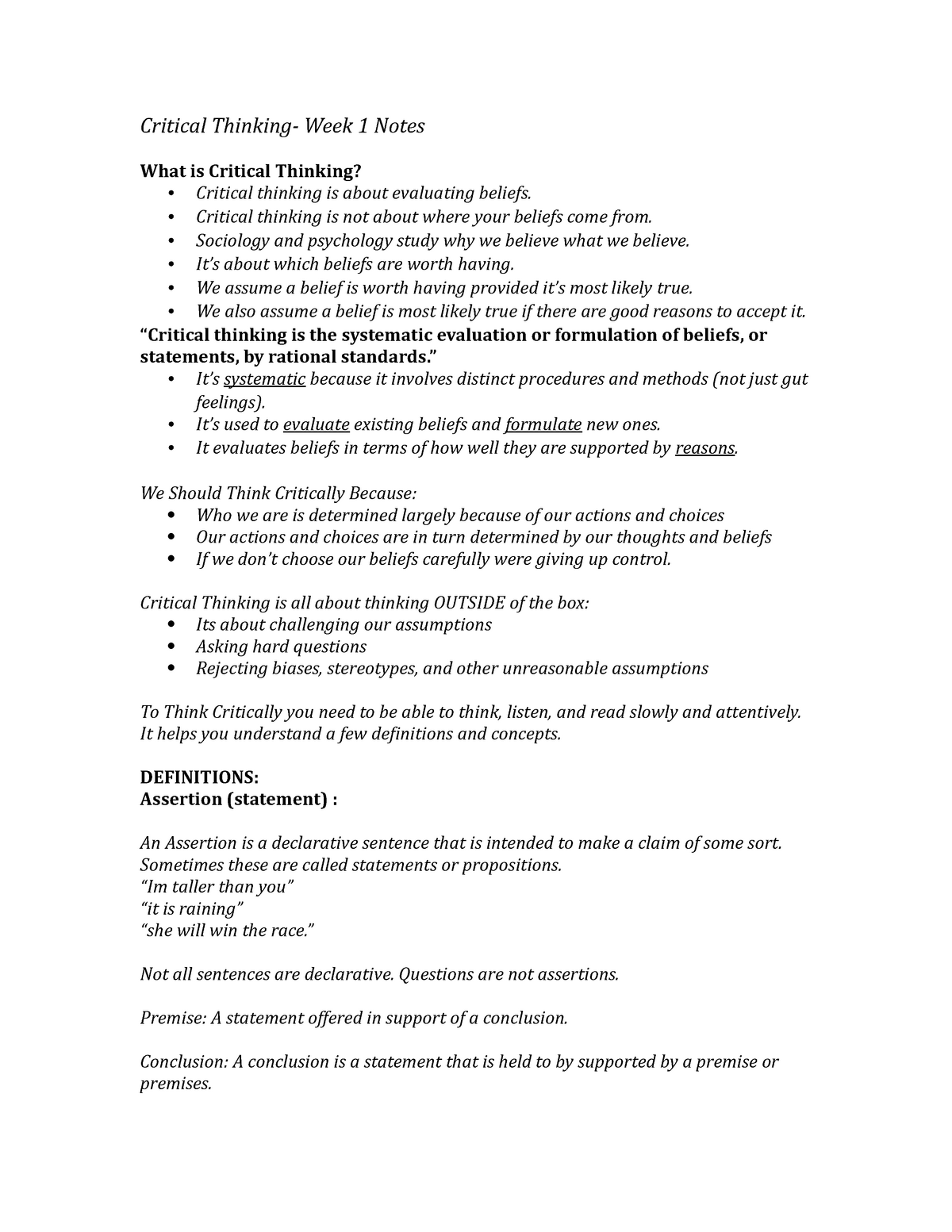 Critical Thinking Notes - Lecture notes, lectures 1 - 7 - Cssh 105