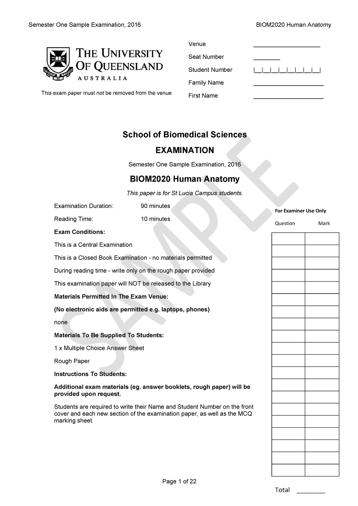 Sample/practice exam 2016, questions - BIOM2020 - UQ - StuDocu