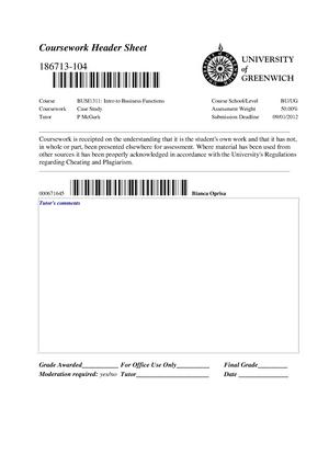 greenwich coursework header sheet