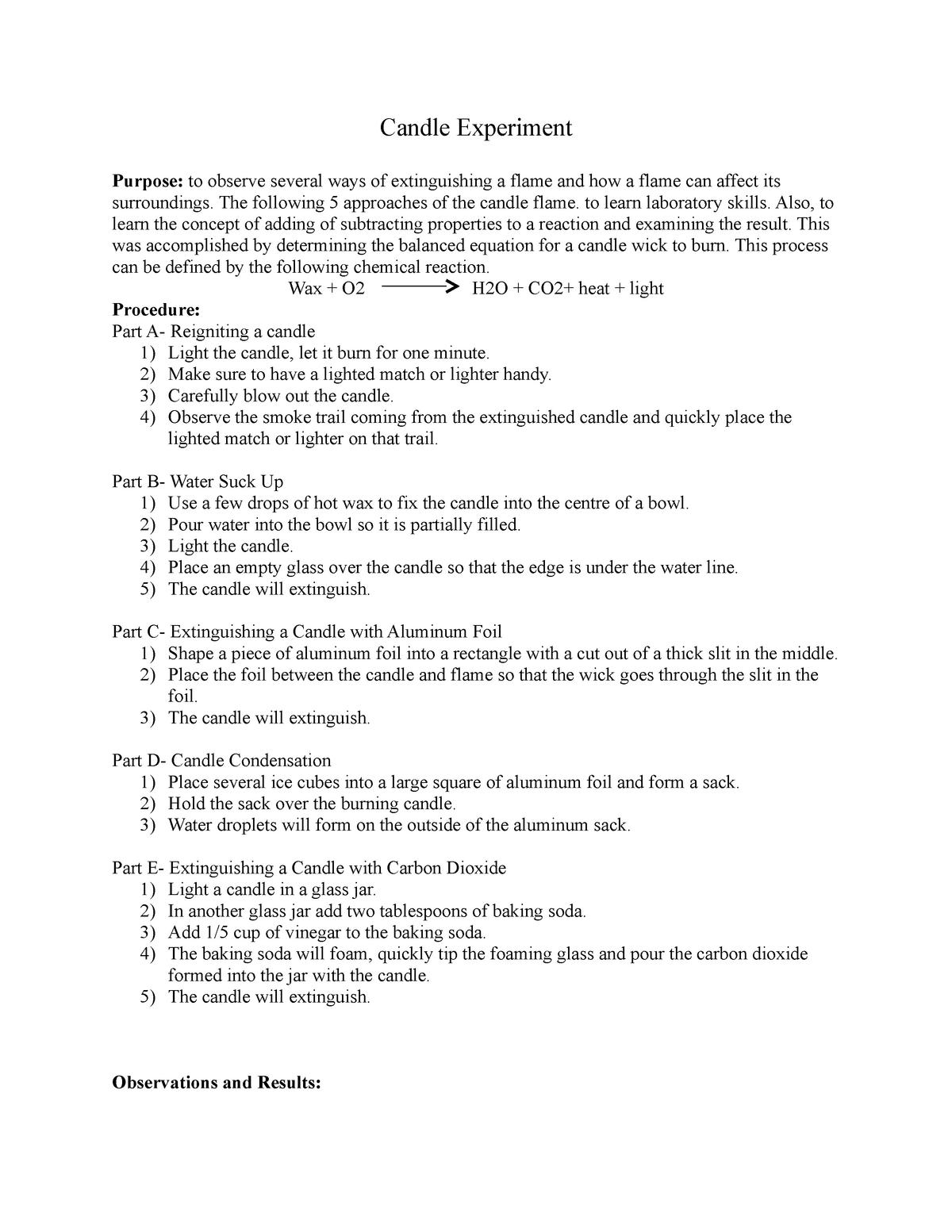 Candle experiment - Chem 217 Chemical Principles I - AU