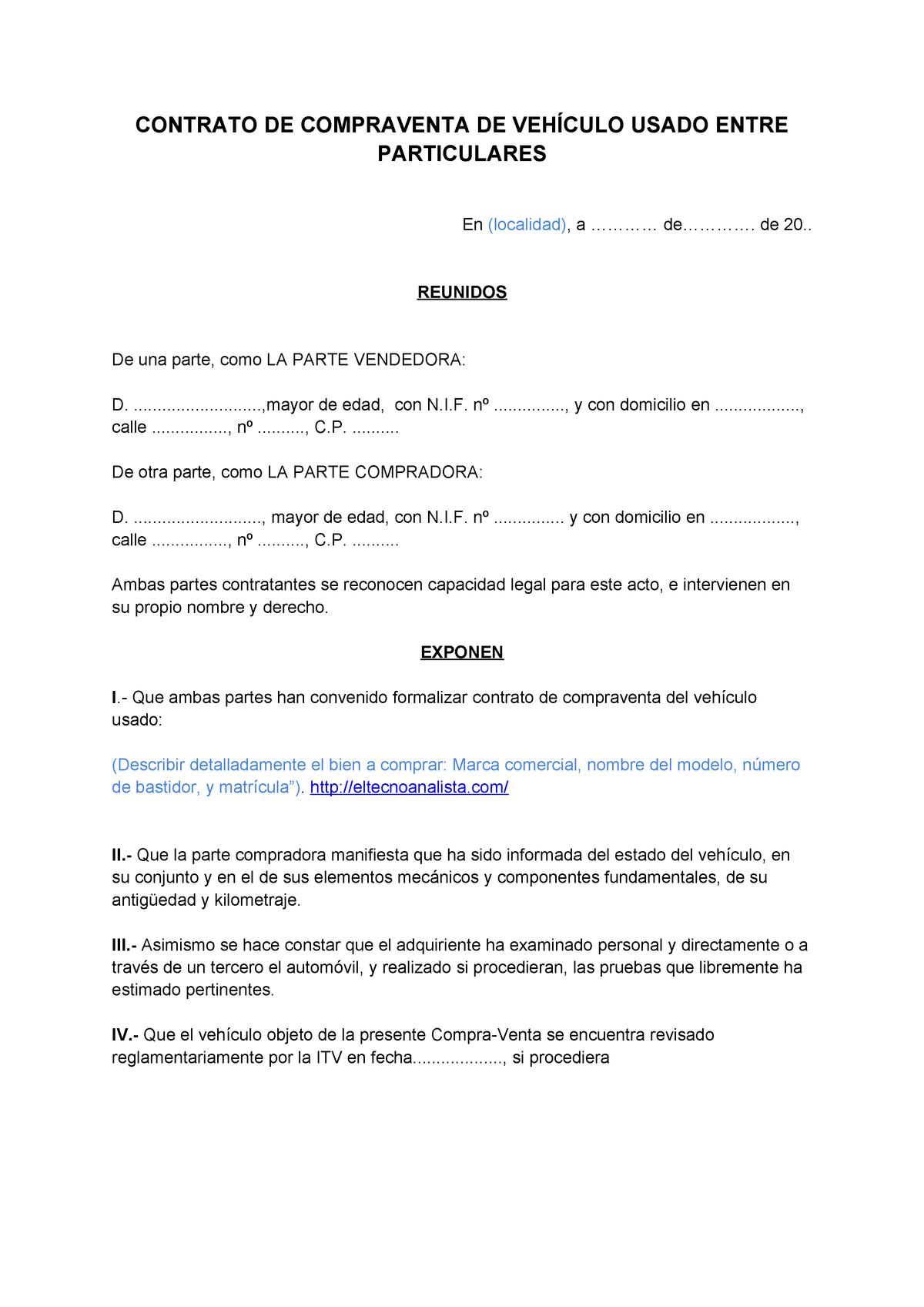 Contrato Compraventa Vehículos Usados Studocu