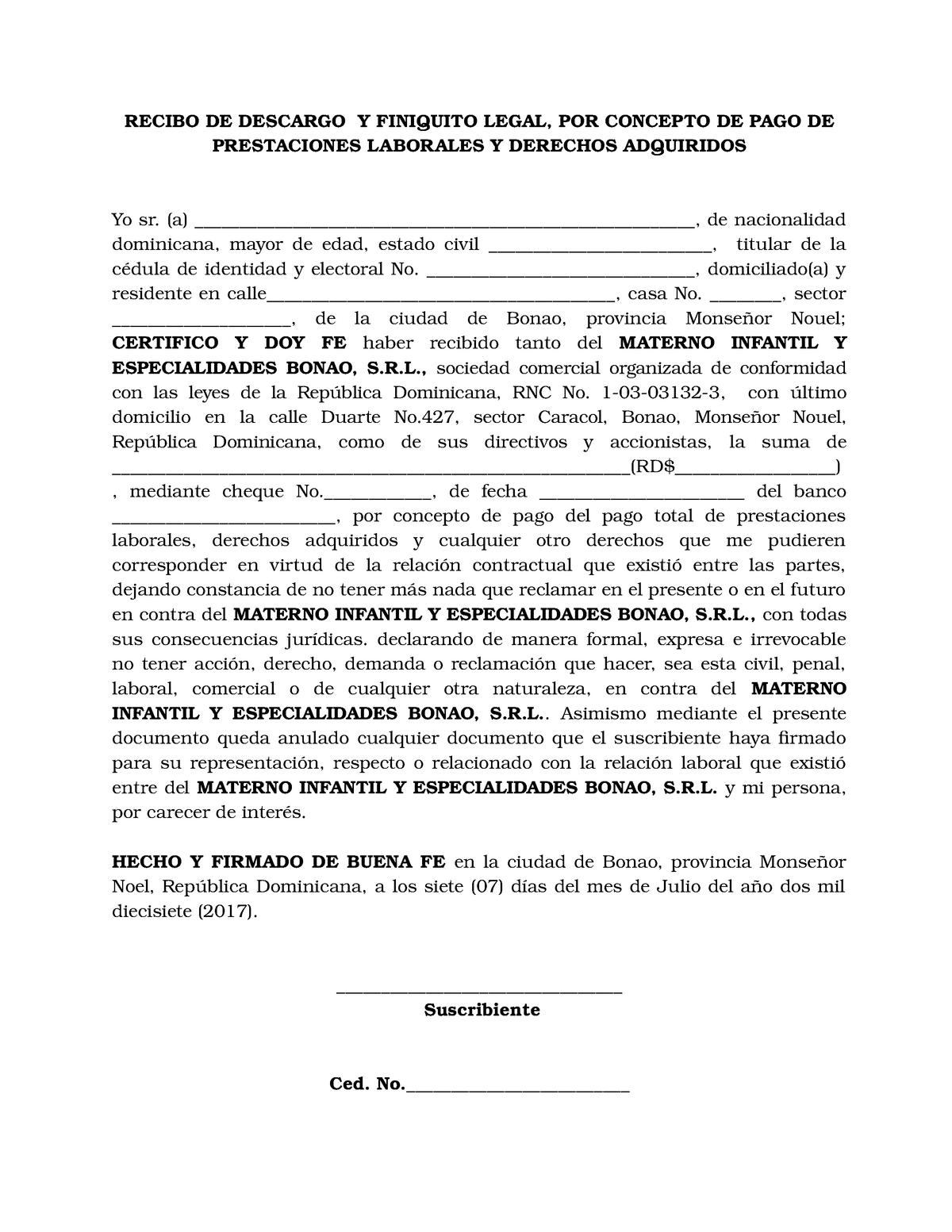 Modelo Recibo De Descargo Y Finiquito Legal Studocu