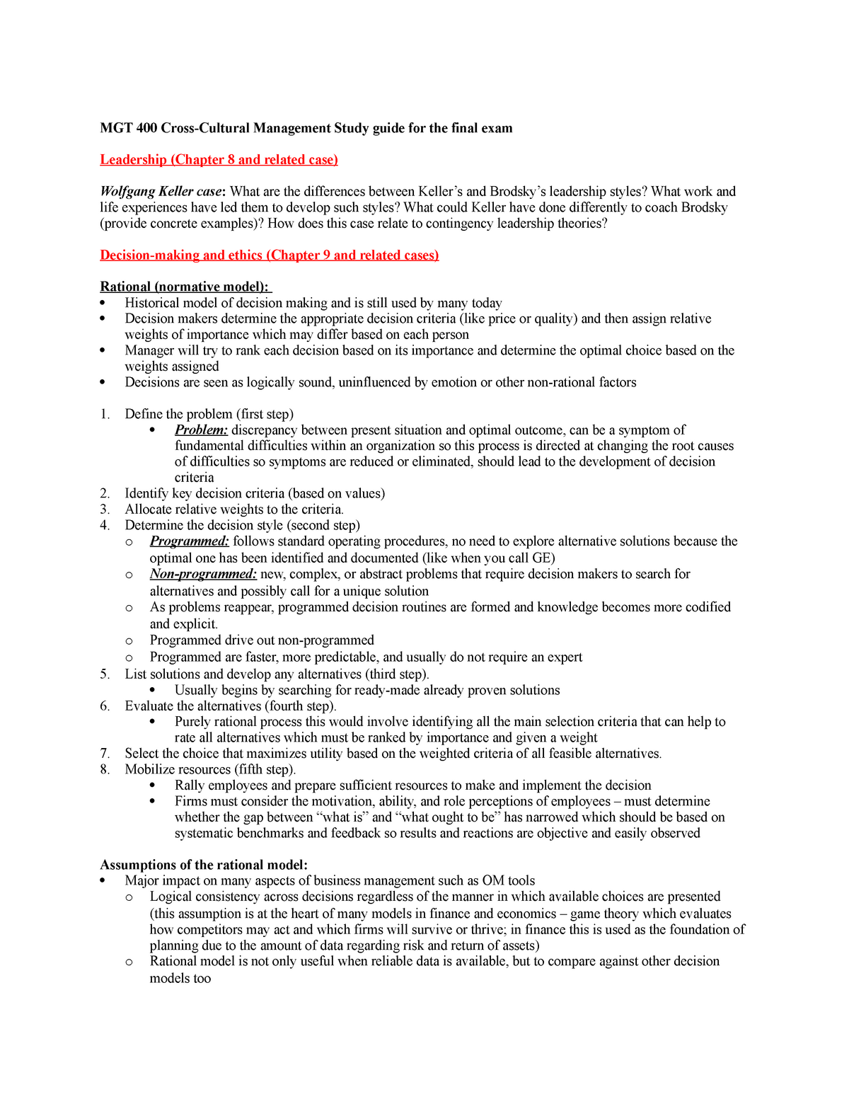 Summary - full study guide for final exam MGT 400 - MGT 400