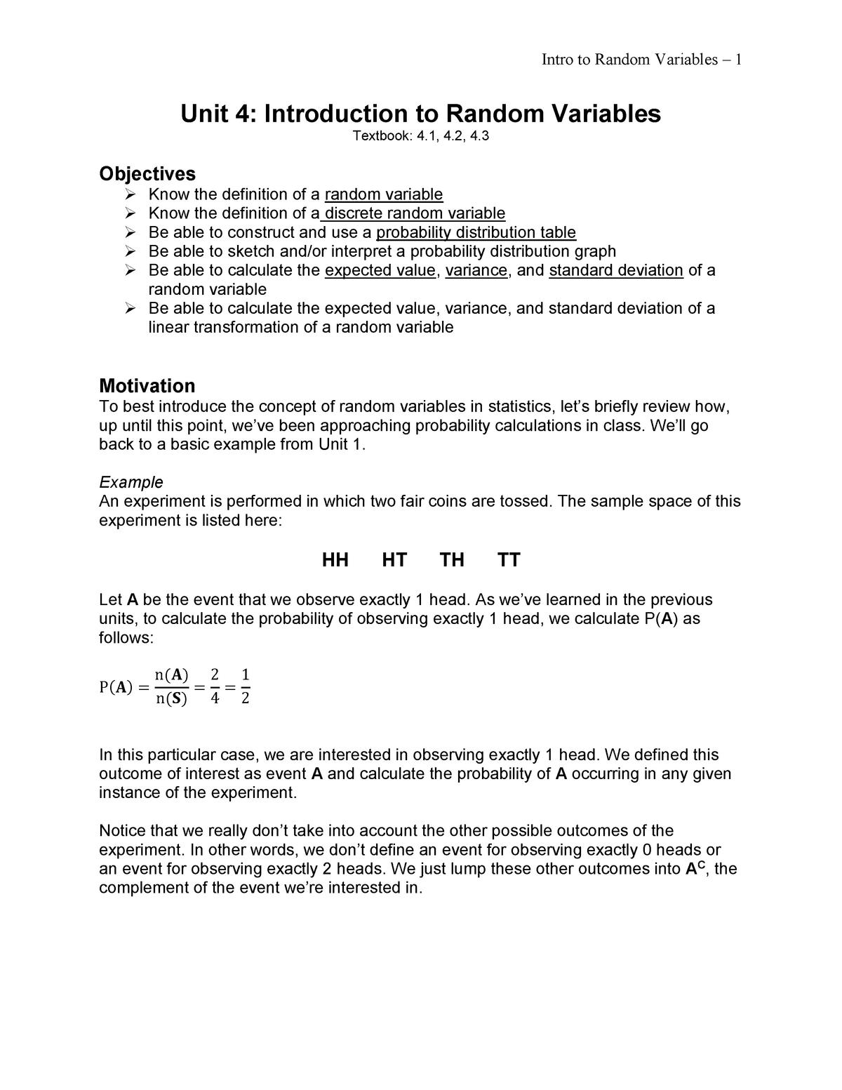 Unit 4 - Introduction to Random Variables - Statistics 213