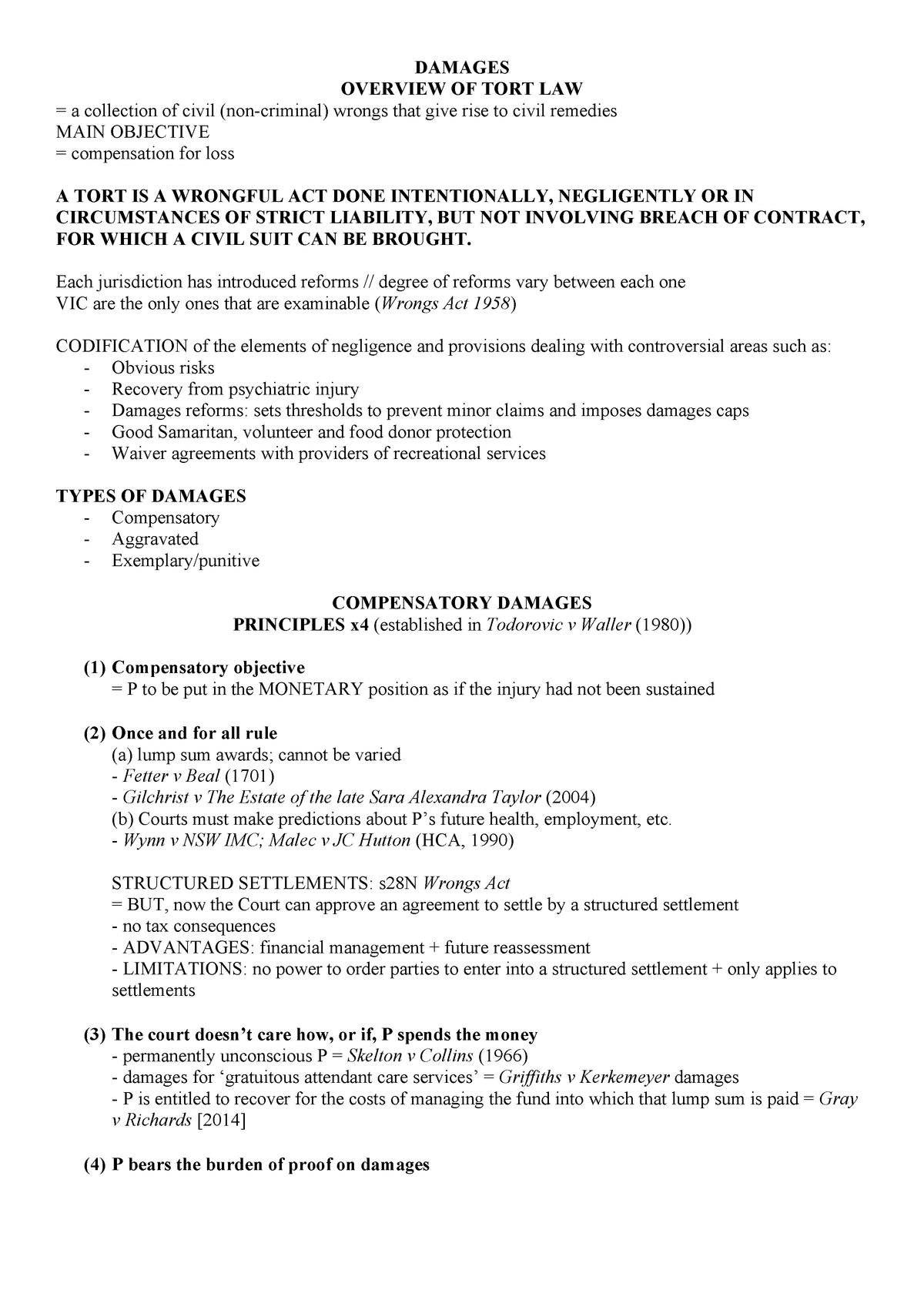 EXAM Notes - MLL213: Torts - StuDocu
