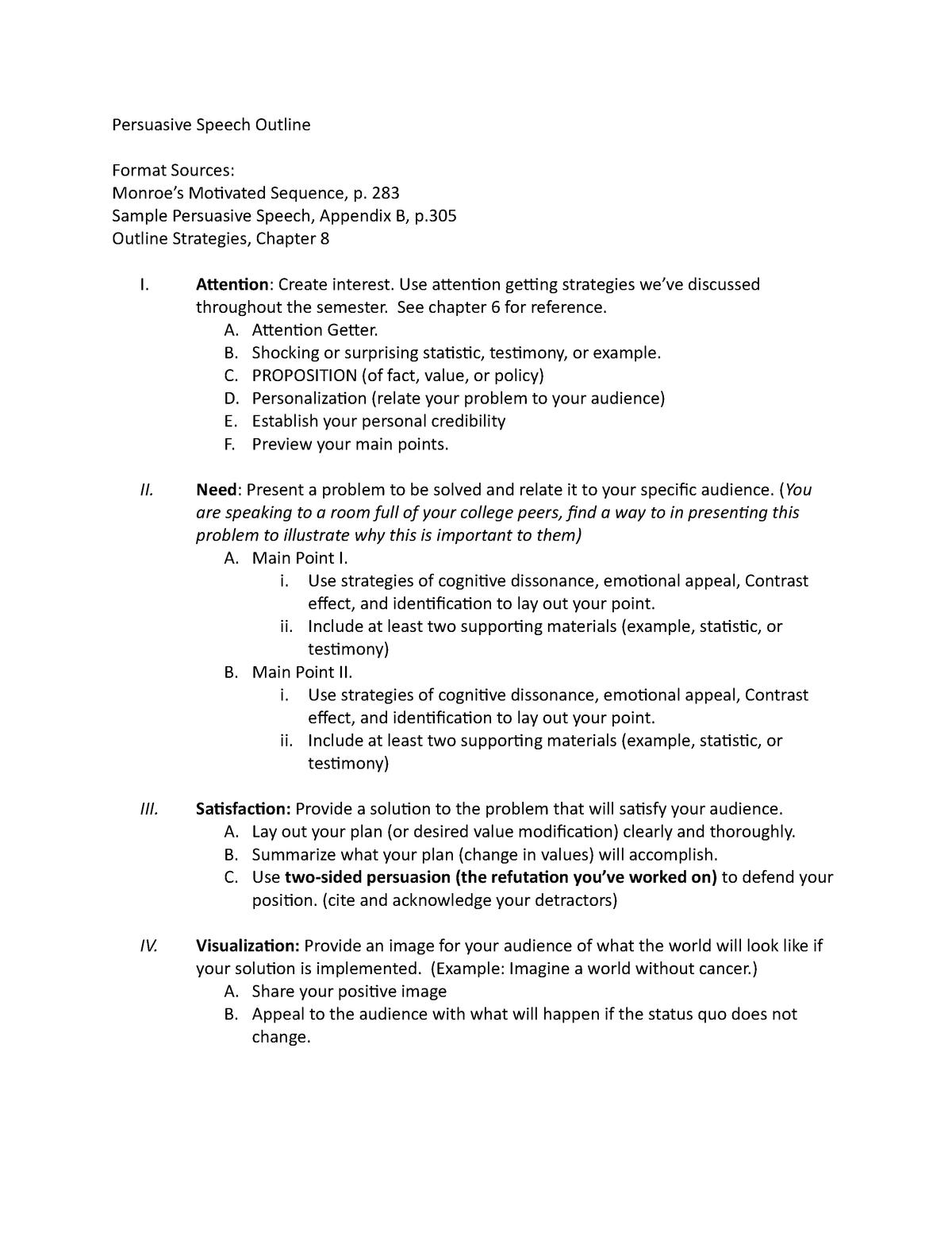 Example outline persuasive speech 4+ Persuasive