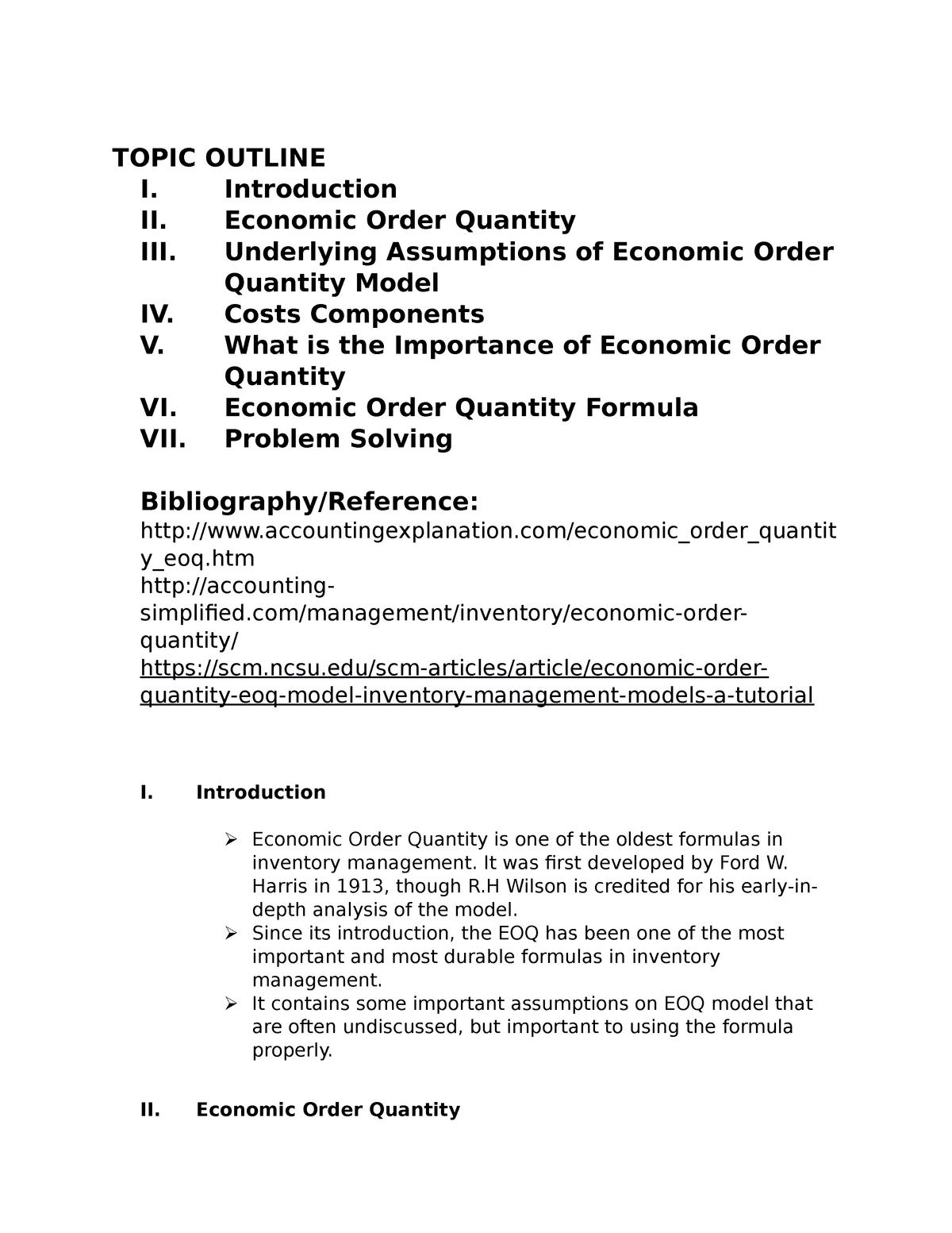 Report on Various Problems on Economic Order Quantity - StuDocu