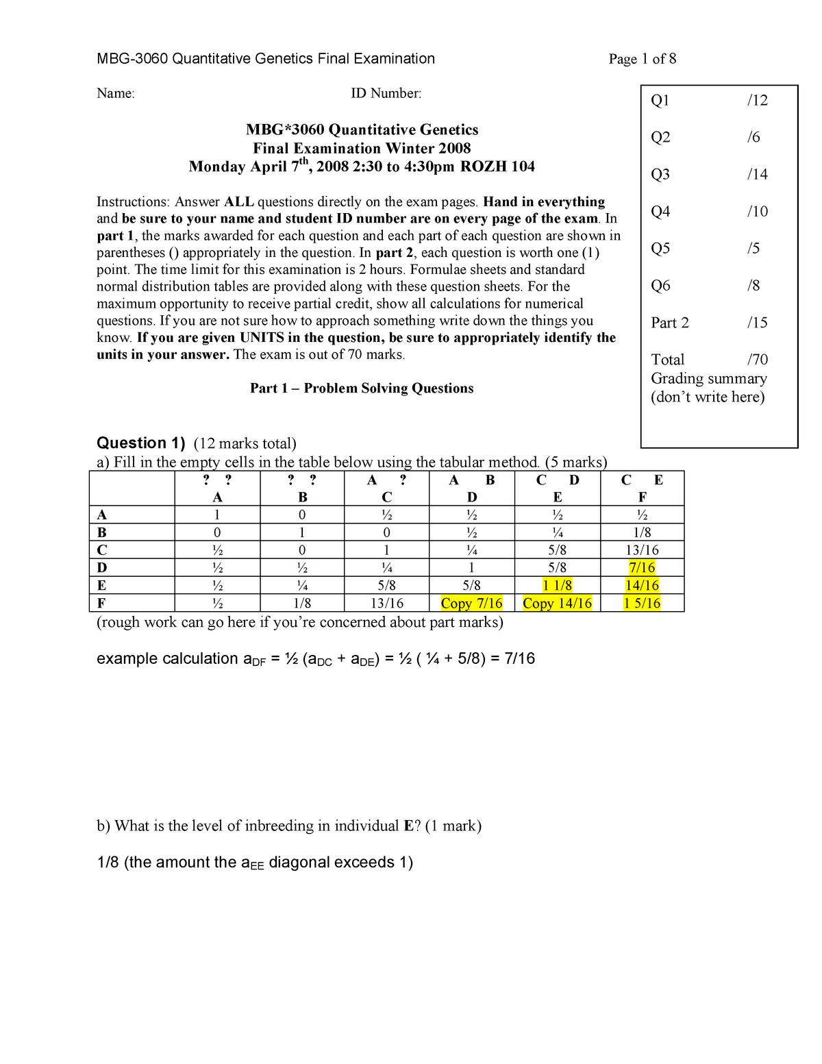 6e09ac0e MBG EXAM 1 Answers - Mbg3060: Quantitative Genetics W - StuDocu