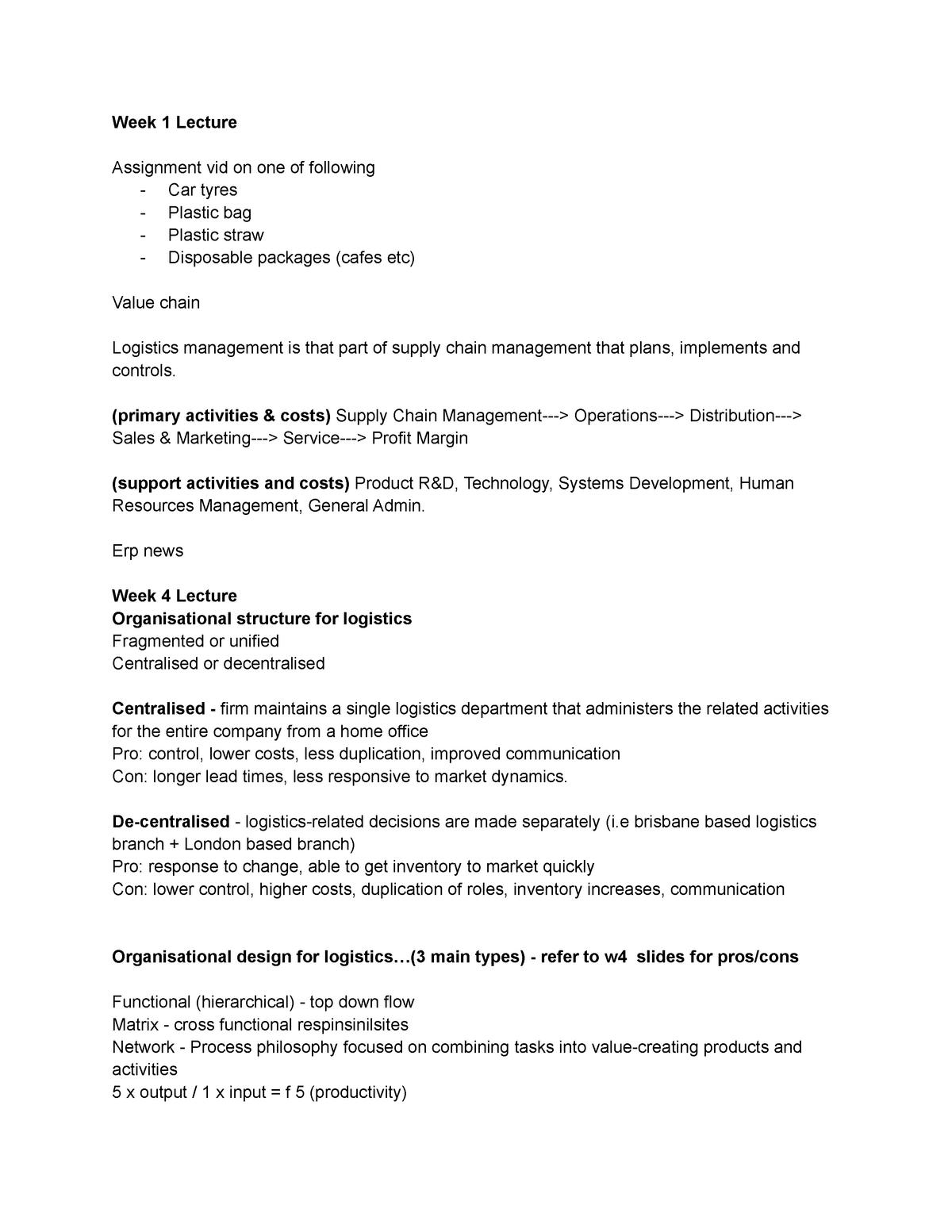 Lecture Notes - AMB303: International Logistics - StuDocu