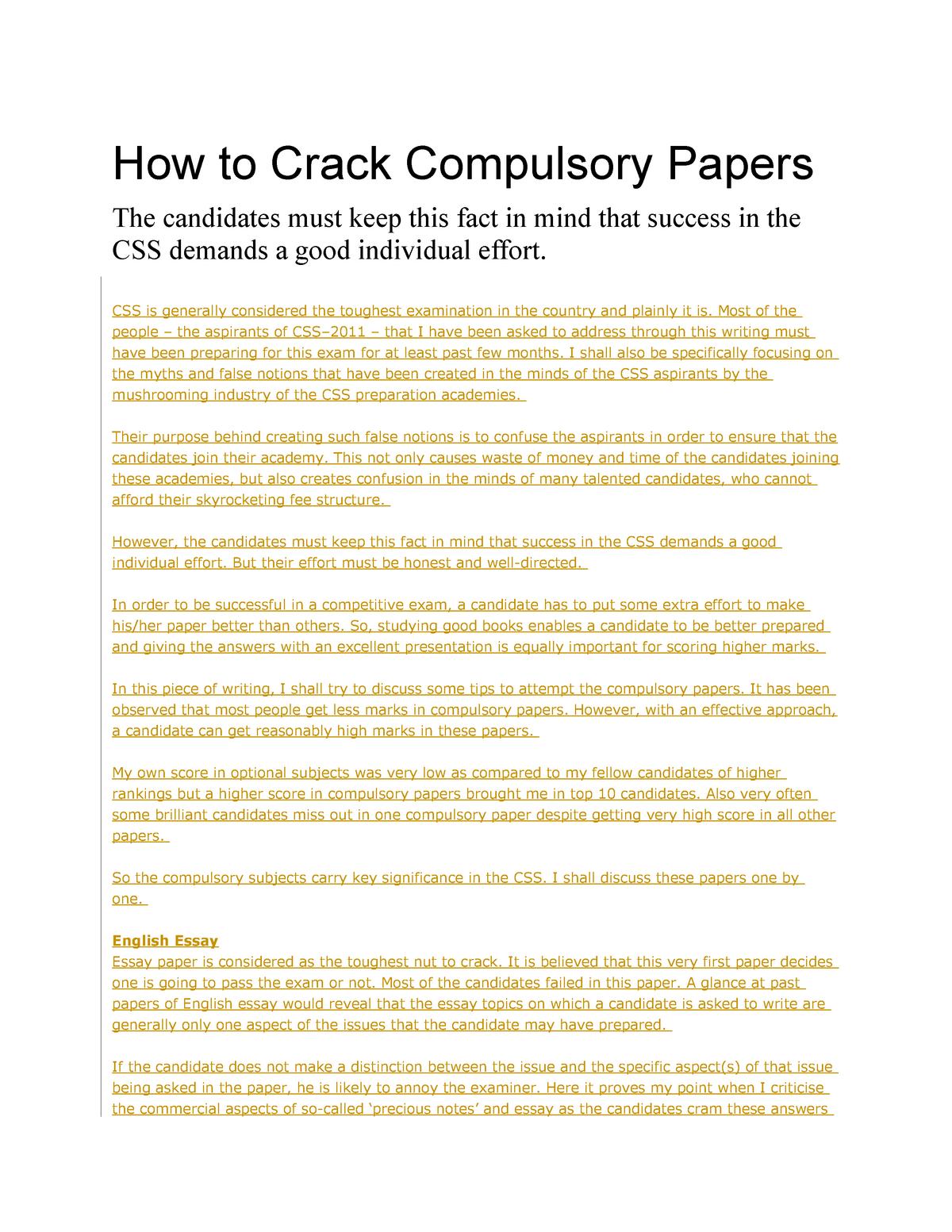 How to Crack Compulsory Papers - CSC 209 - StuDocu