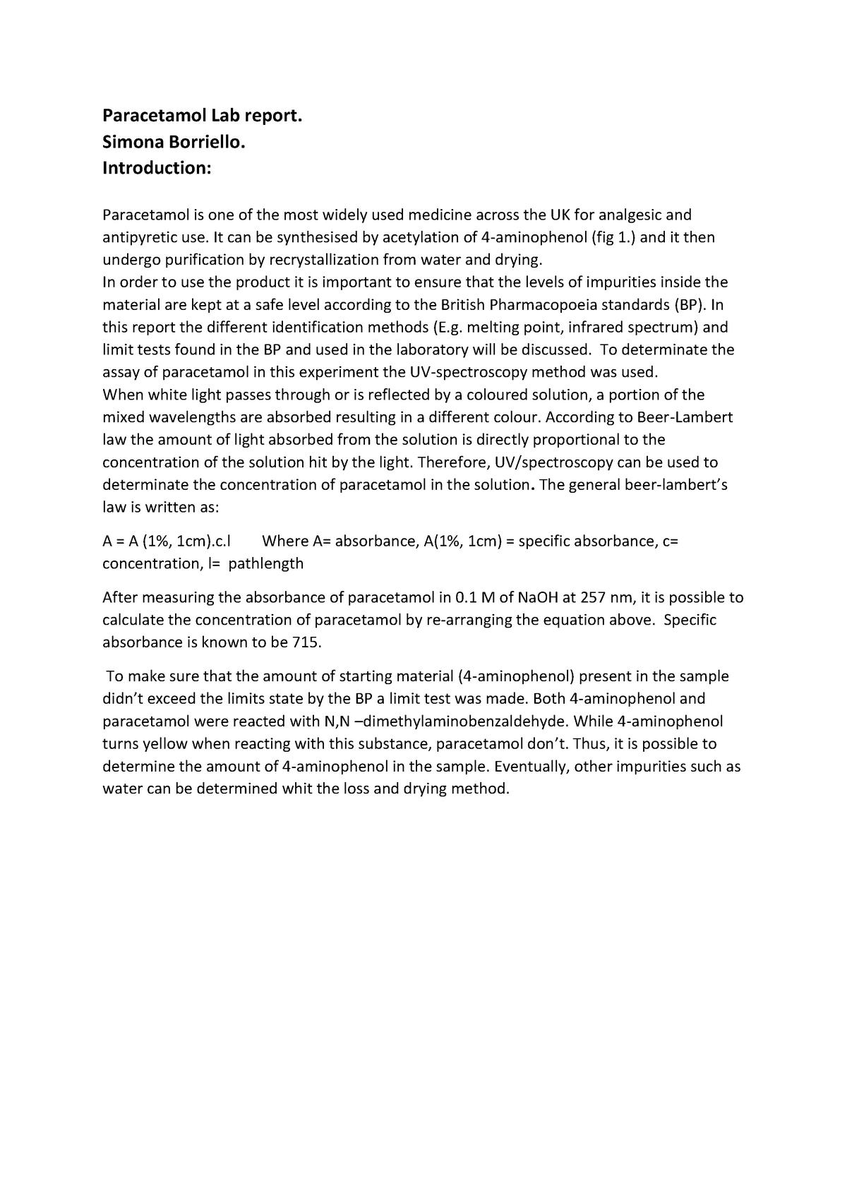 Paracetamol Lab Report A Widely Used Medicine Across The Uk Studocu