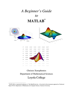 A beginners guide to matlab - CHEM 4311: Physical Chemistry