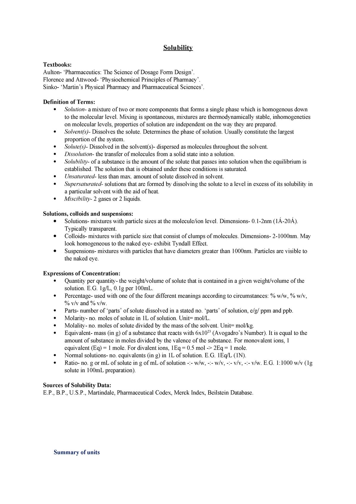 Solubility Notes - Summary PHYSICAL PHARMACY – Pharmaceutics