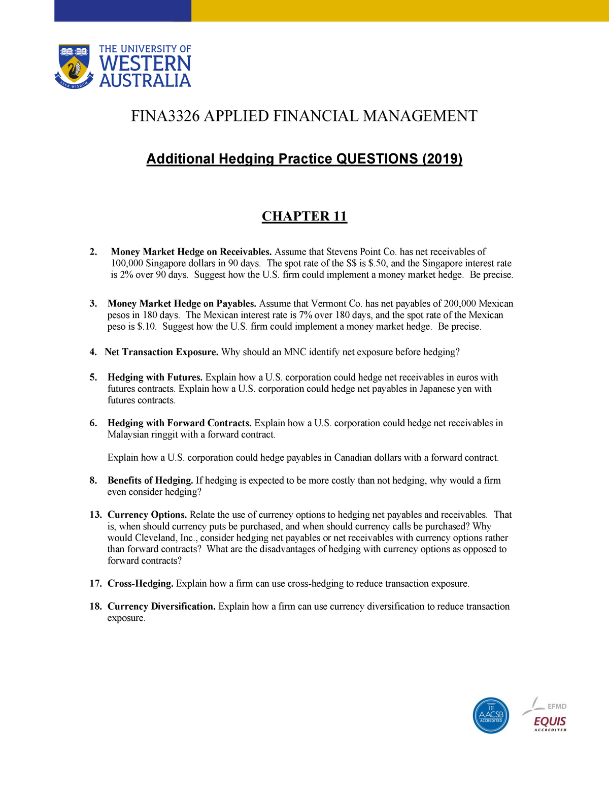Additional Hedging Practice Questions 07 - FINA3326 - UWA - StuDocu