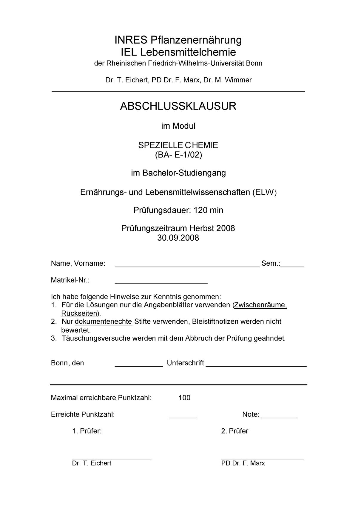 Klausur Spez Chemie 1 Past Exam Questions 707441010