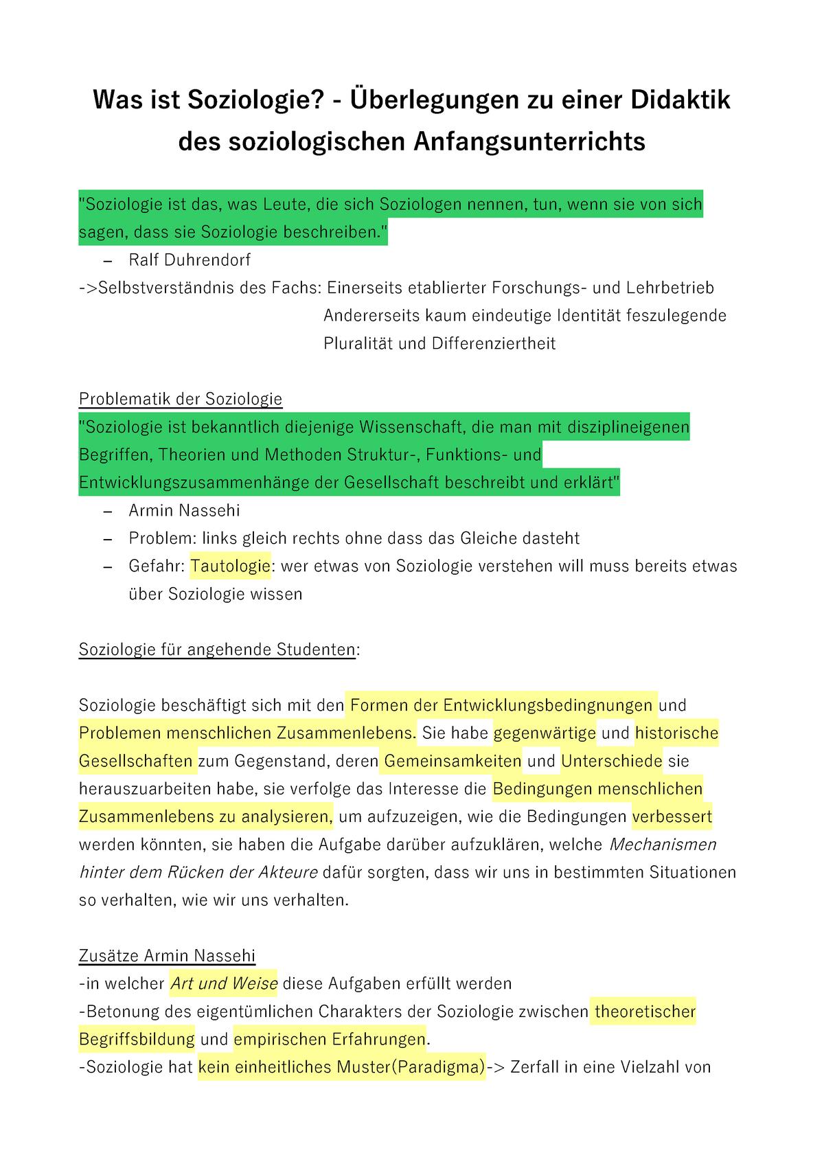 Was ist Soziologie Armin Nassehi Zusammenfassung - 15329 ...