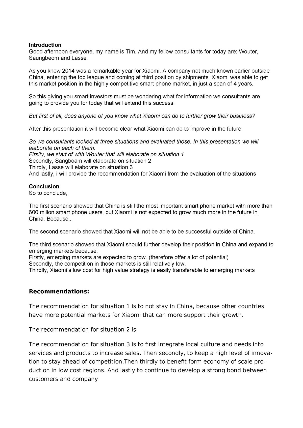 Conclusion And Recommendation For Business