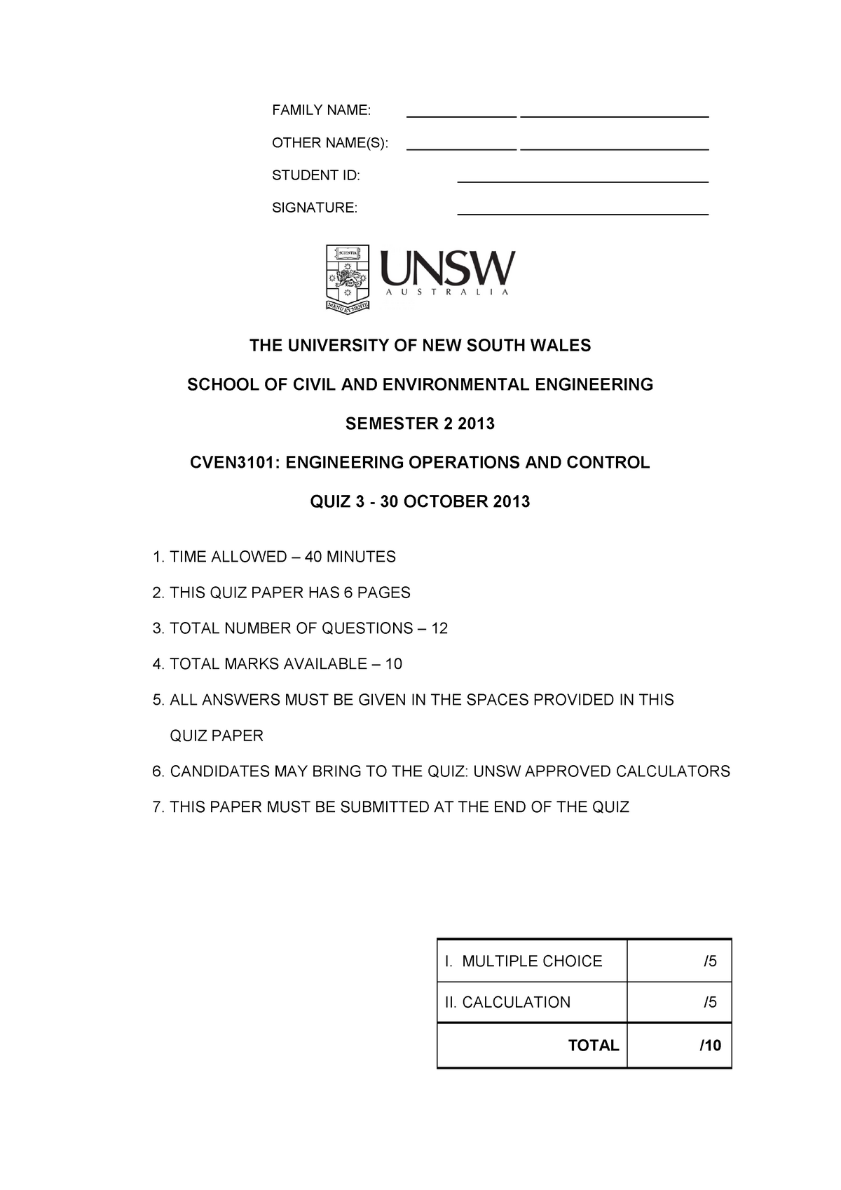Practice exam 2013 questions and answers - CVEN3101 - UNSW