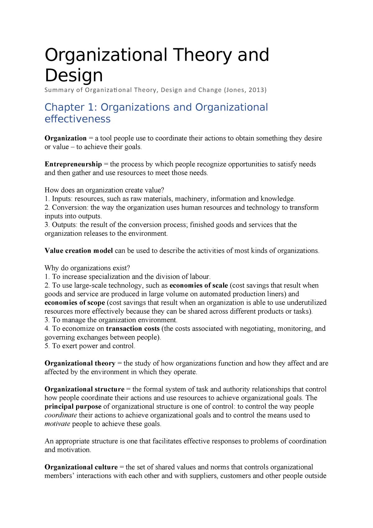 Summary Samenvatting Organizational Theory Design And Change Studocu