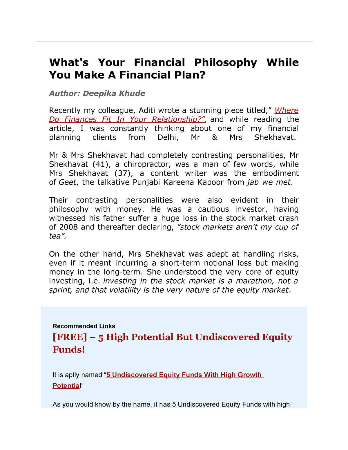 Case study in Investment - PA 504: Financial Management - StuDocu