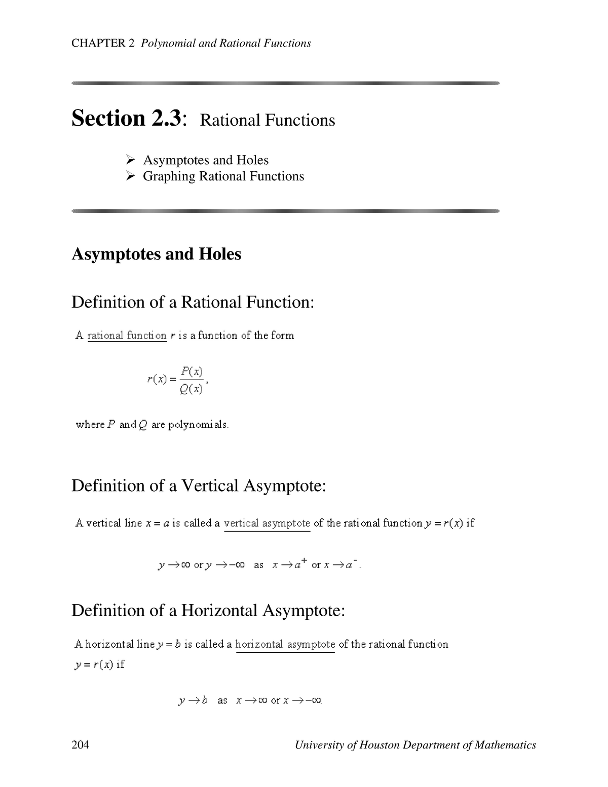 Rational Functions Section 2 3 - MATH 1330 Precalculus - UH