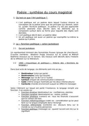 Synthèse De Poésie Lrom1160 Uclouvain Studocu