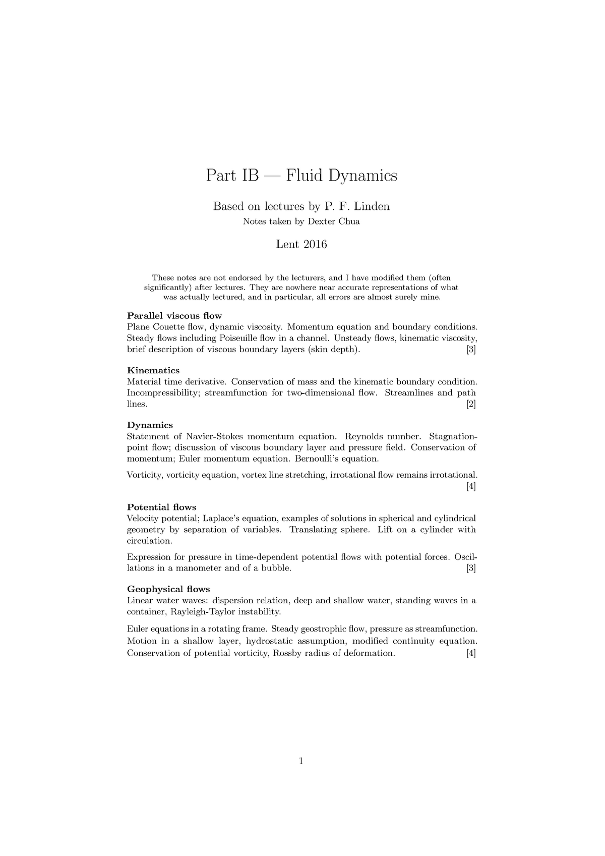 Fluid Dynamics 2015-2016 Course Notes - B12 - CAM - StuDocu