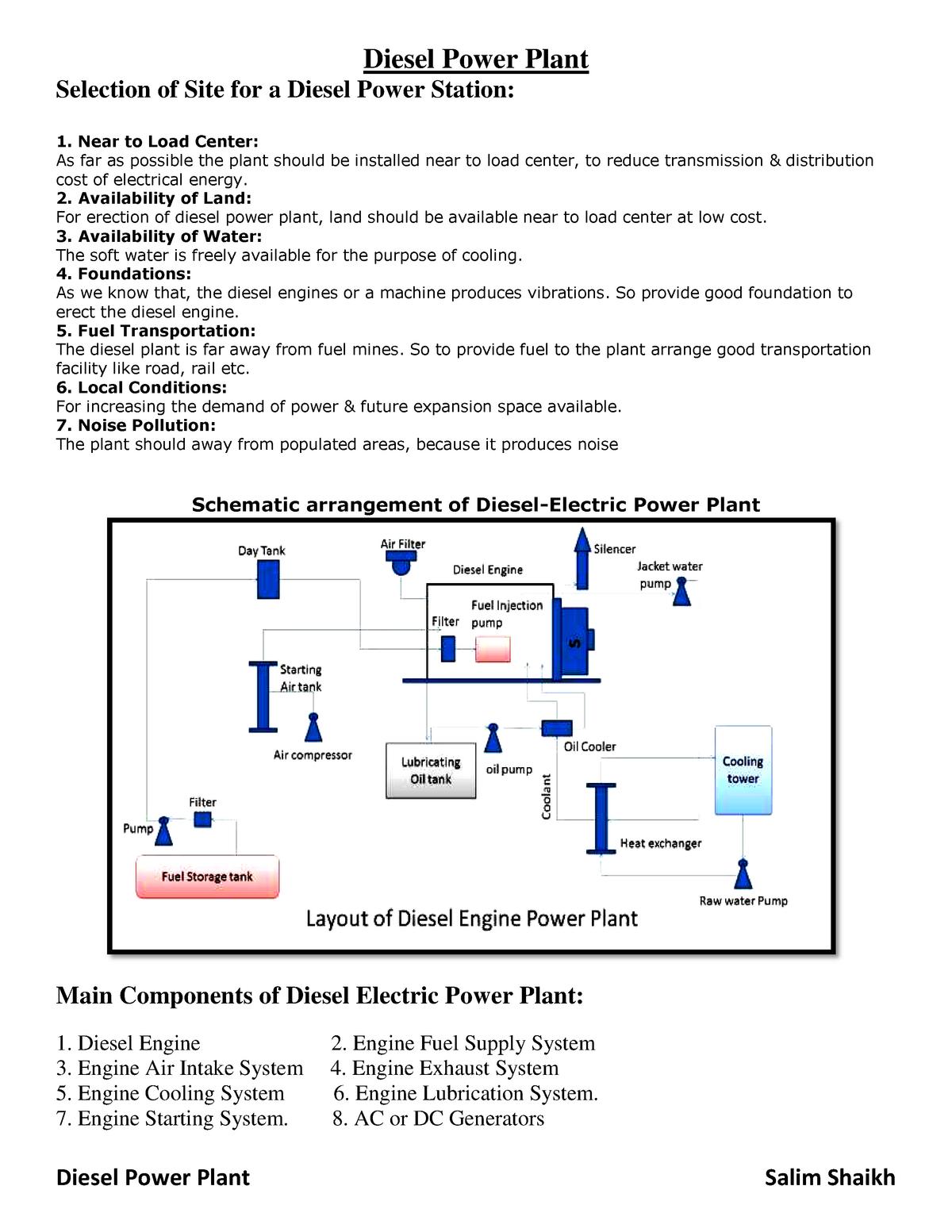 Disel Power Plant - Lecture notes 3-4 - EEC303 - StuDocu