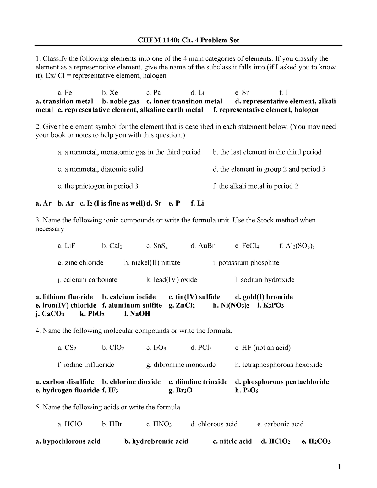 Chapter 4 - The Periodic Table and Chemical Nomenclature