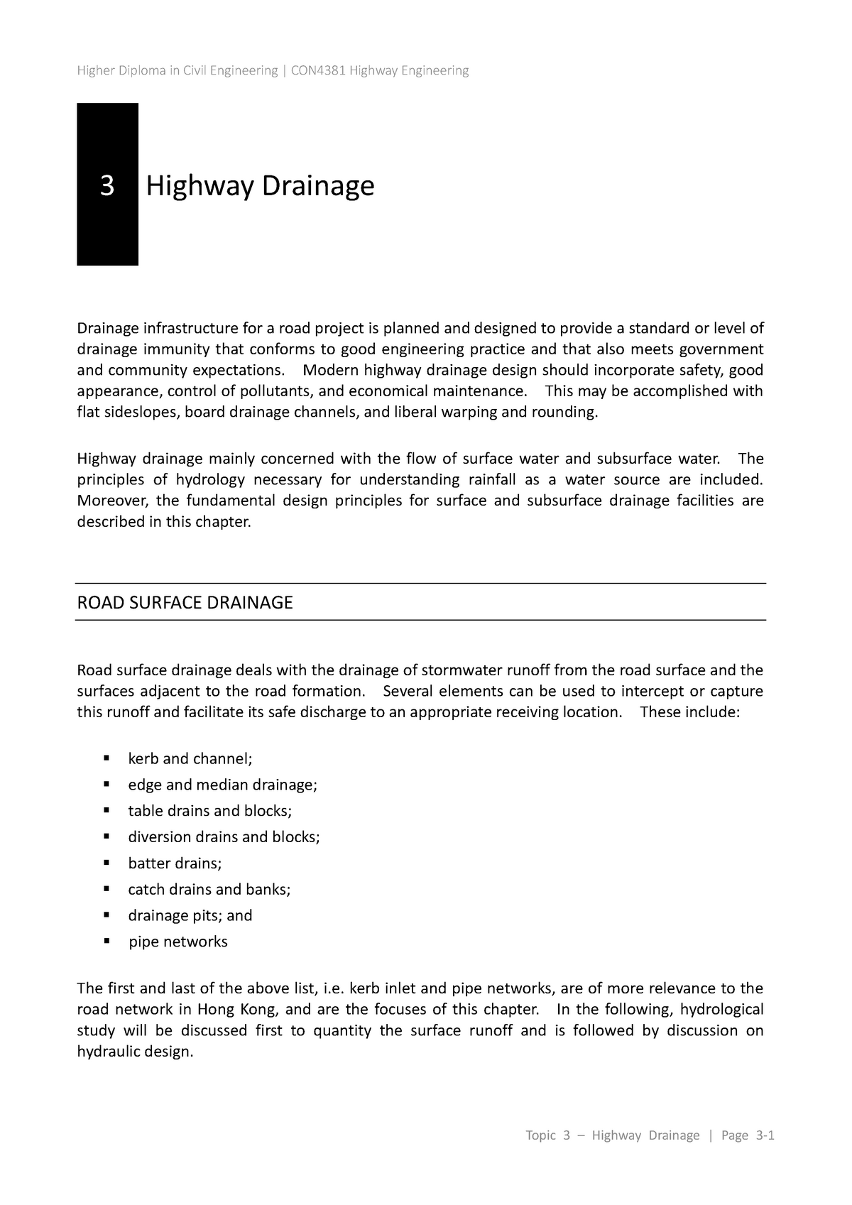 Topic 3  Highway Drainage - MS 5403 Software Engineering