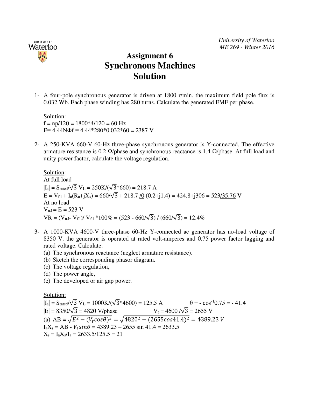 A6 Solution - Study reference - Me 269: Electromech Dev