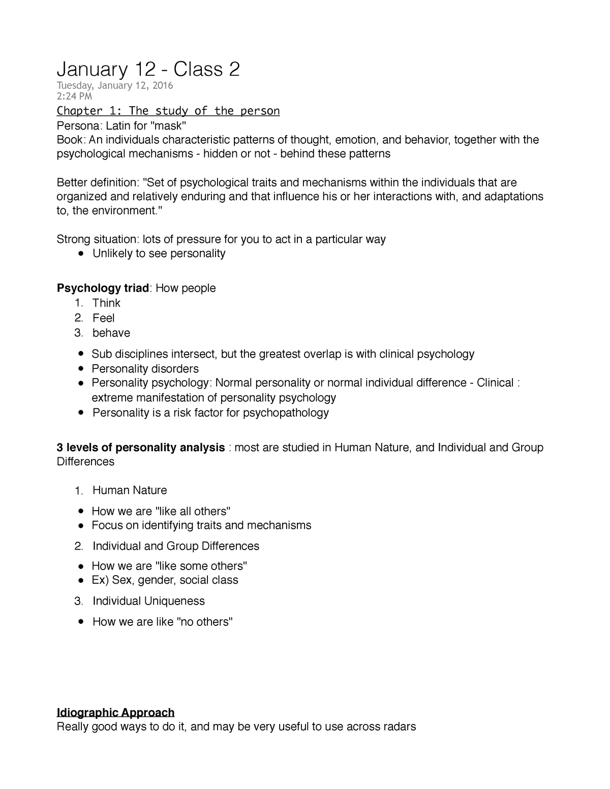 Psychology Of Personality - Lecture notes - psych jan 12