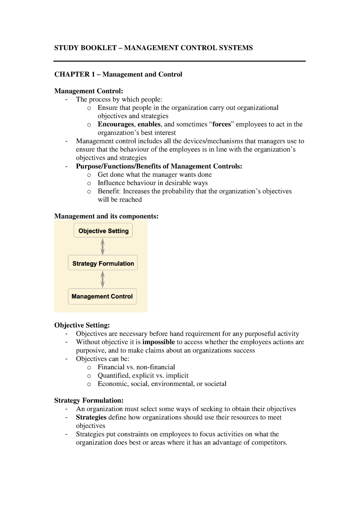 Summary Management Control Systems - book notes management