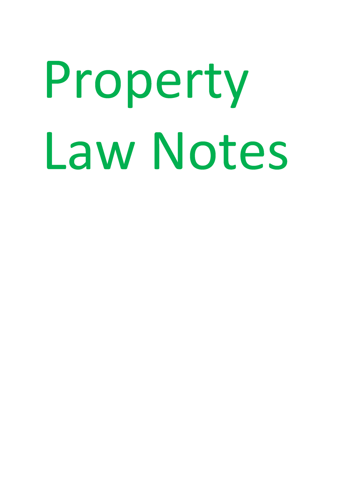 Property Law Notes - LAWS10084: Property Law - StuDocu
