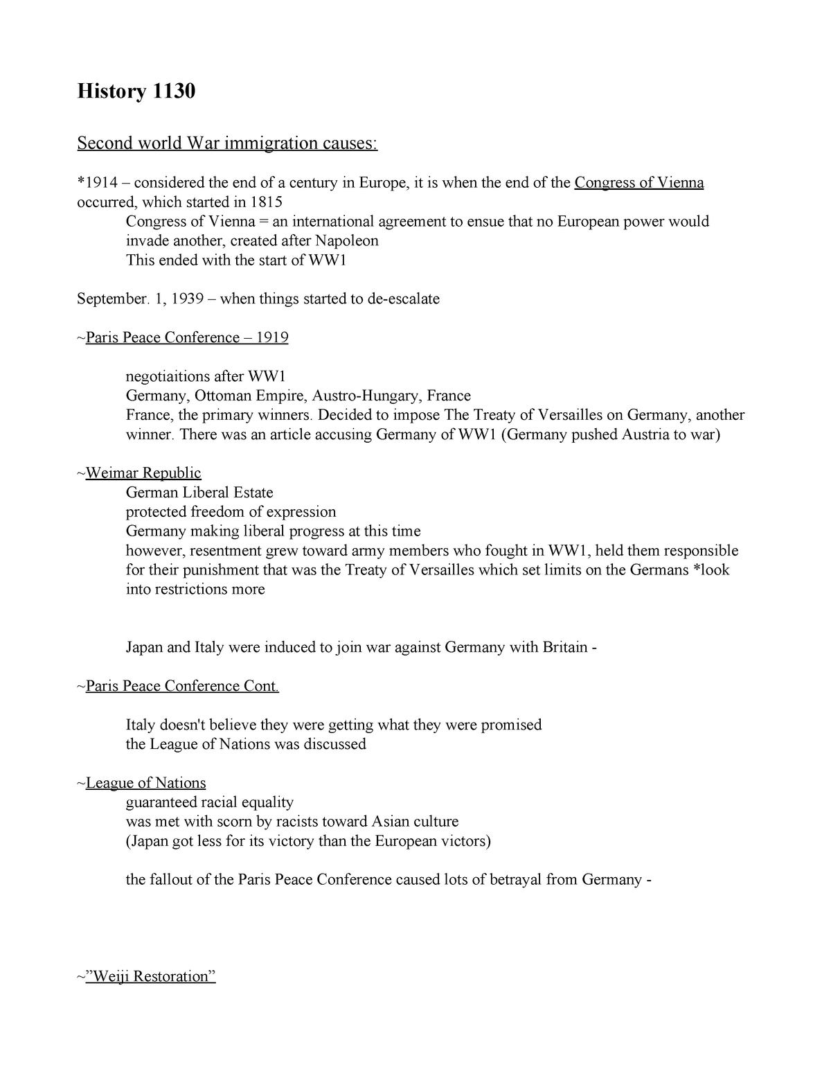 History 1130 Notes - HIST 1130: Modern History (1939 to
