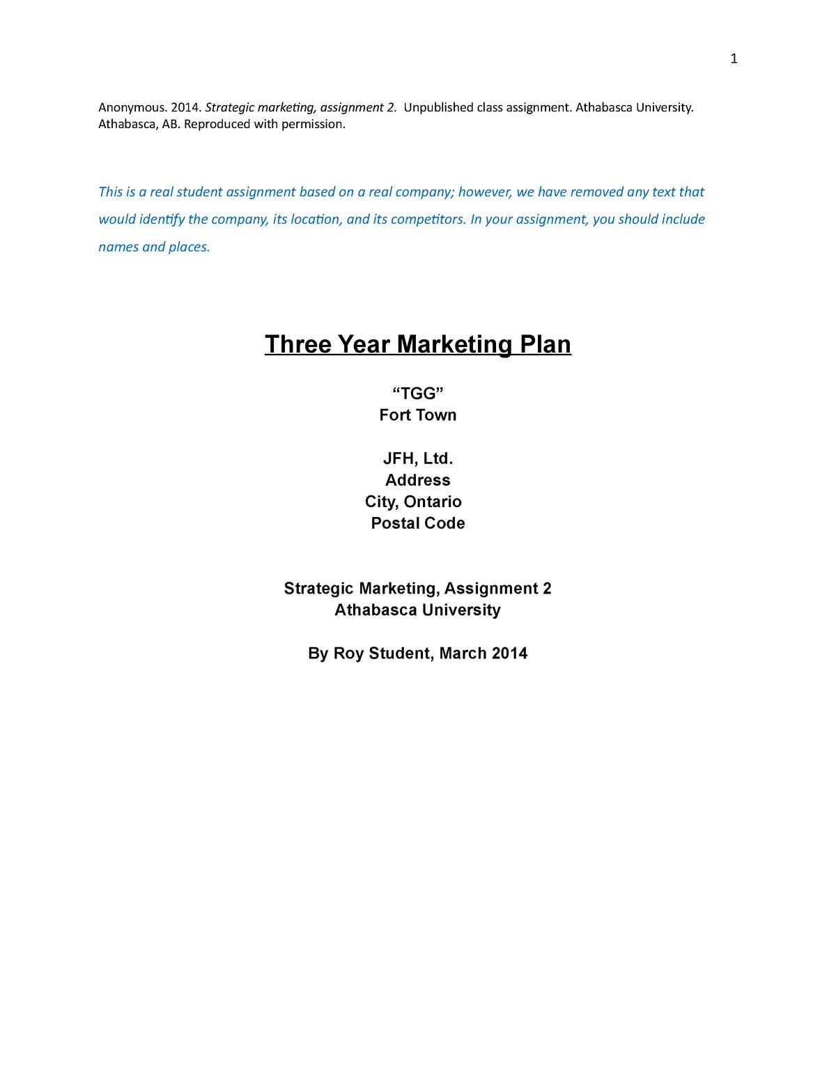 JStudent MKTG440 Assignment 2 - Mktg 440: Marketing Strategy