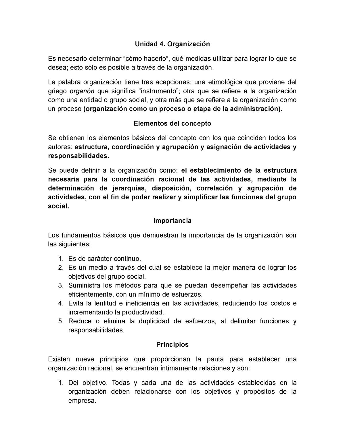 Unidad 4 Organización Fundamentos De Administración Studocu