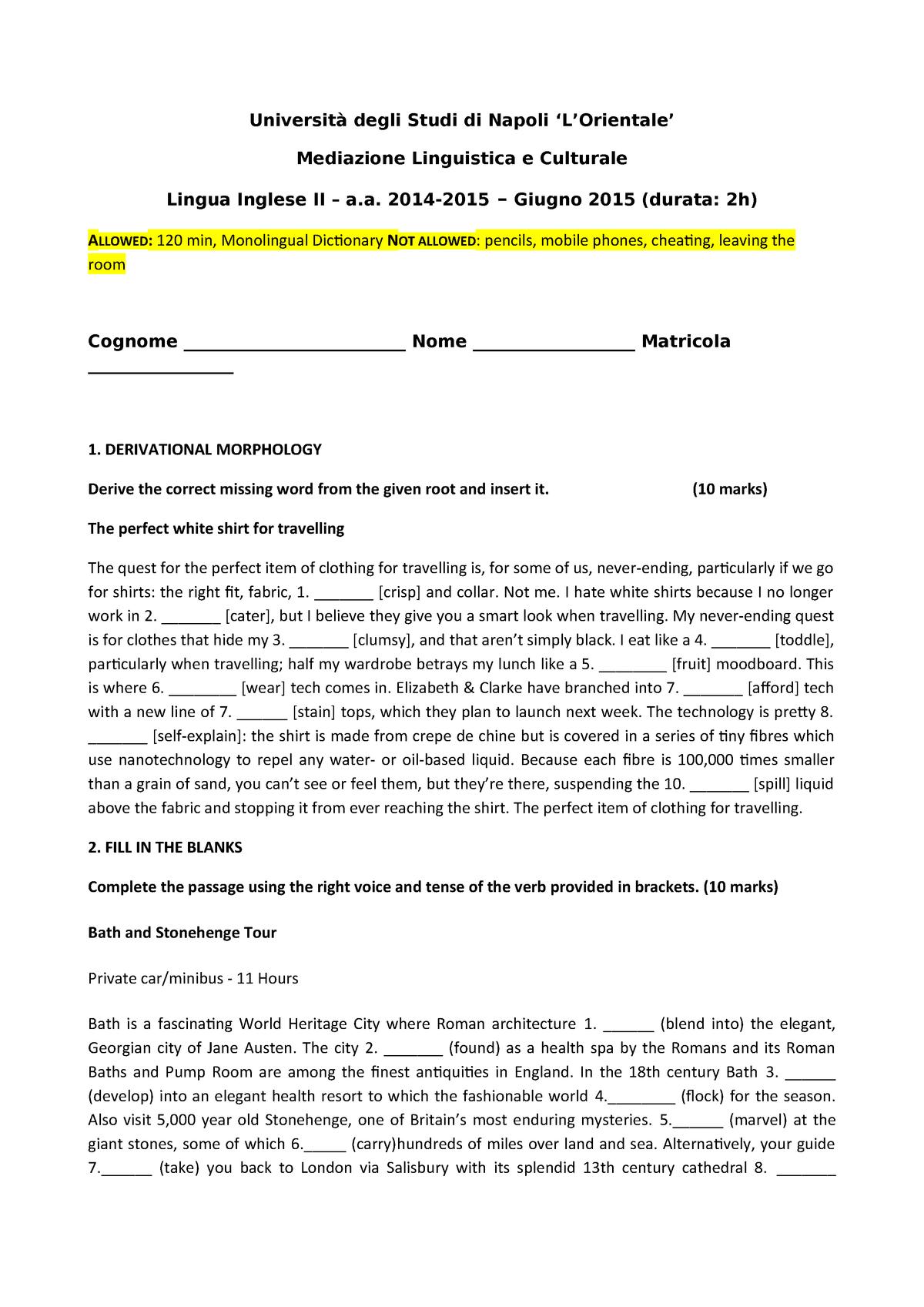 Exam 2015 - Letteratura Inglese II - StuDocu