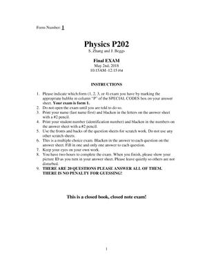 Exam 2018 - PHYS-P 202: General Physics 2 - StuDocu