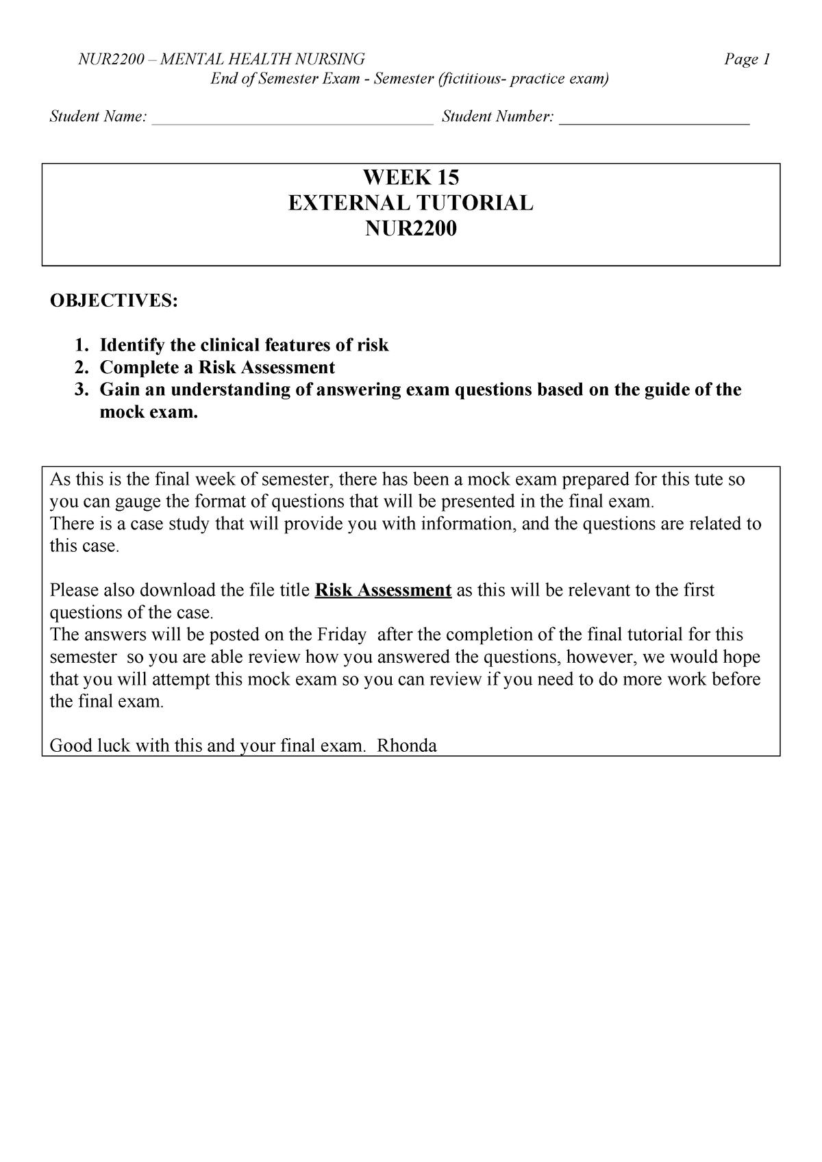 Exam 2017 Nur2200 Mental Health Nursing Care Studocu