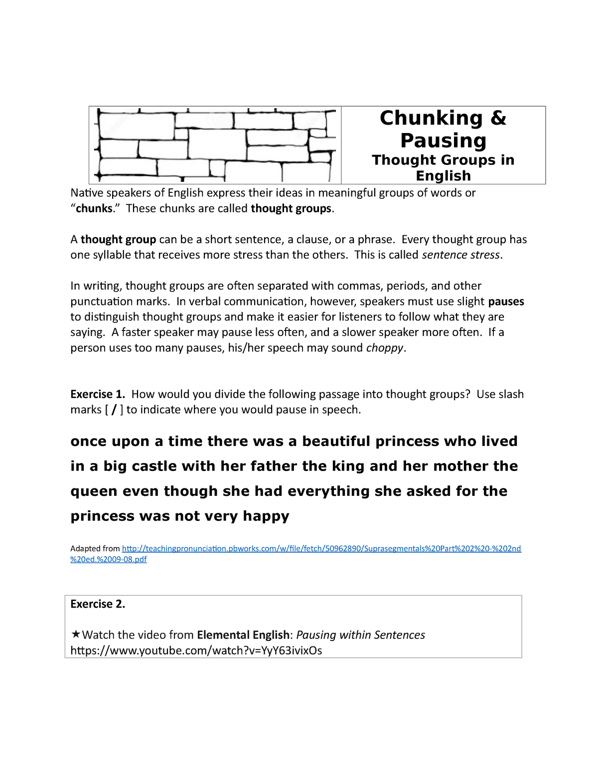 Chunking & Pausing-Thought Groups in English Fall 2018 - Emls 101R
