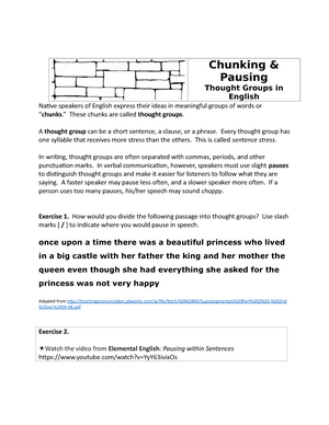 Chunking & Pausing-Thought Groups in English Fall 2018 - StuDocu
