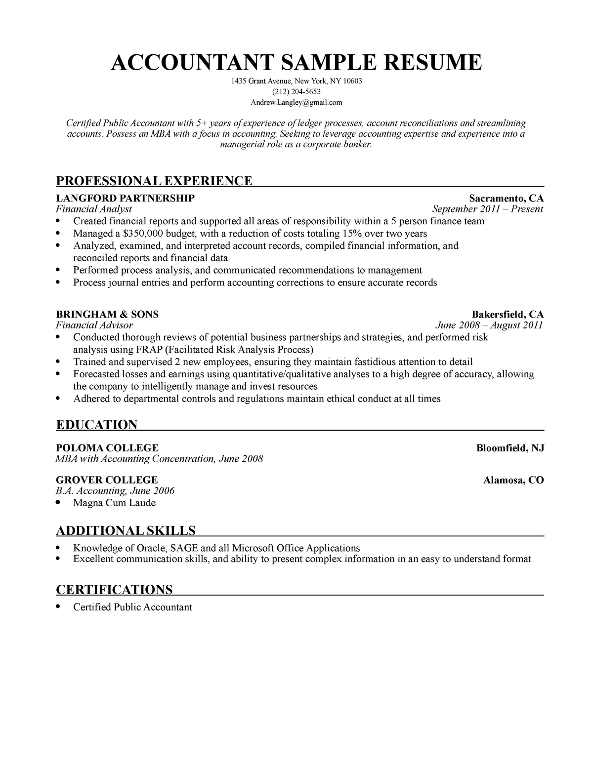 Magna Cum Laude Resume.Nm Accountant Resume Sample Bsba Marketing 1 Studocu